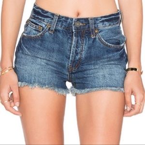 Free People Rock Denim Uptown High Rise Shorts 25